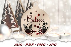 Believe Christmas Ornament SVG Files For Cricut Product Image 4