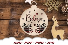 Believe Christmas Ornament SVG Bundle With Files For Cricut Product Image 6