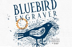 Bluebird engraver Font | An artisan hand-made stamp type. Product Image 1