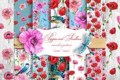 Poppies Flowers, Seamless patterns.Watercolor Flower Product Image 1