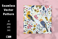 Blossom Birds Vector Seamless Pattern Product Image 1