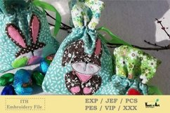 ITH -Drawstring Bag with Bunny - Embroidery File Product Image 3