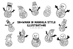 Snowman In Mandala Styles illustrations Product Image 1