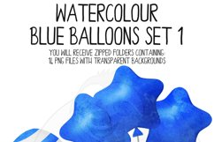 Blue Watercolor Balloon Clipart Set Product Image 4