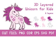 3D Layered Unicorn for Kids. Cut files Product Image 1