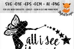 Fairy SVG - png - eps - dxf - ai - fcm - Fairies SVG - Silhouette - Cricut - Scan N Cut - All I See is Magic SVG Product Image 1