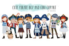cute Pirate boy and girls clipart Product Image 1