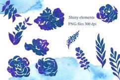 Blue Watercolor Flowers Clipart, Winter Floral Clip Art Product Image 5