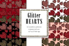 Valentine Digital Paper, Glitter Heart Pattern Product Image 1