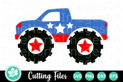 4th of July Monster Truck - An Americana SVG Cut File Product Image 1