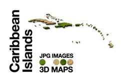 Caribbean-Islands 3D Maps Images Dry Earth Sand Grass Product Image 1