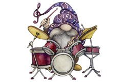 Watercolor Gnome png, Music Sublimation, Drum set Product Image 1