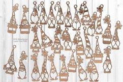 Christmas Gnome Ornament SVG Glowforge Laser Files Bundle 30 Product Image 1