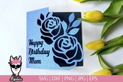 Birthday Mom card svg, birthday card for mom svg template Product Image 1