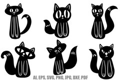 26 Cute Black and White Halloween Kitten Cat Illustrations Product Image 3