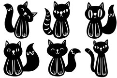 26 Cute Black and White Halloween Kitten Cat Illustrations Product Image 4