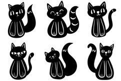 26 Cute Black and White Halloween Kitten Cat Illustrations Product Image 2