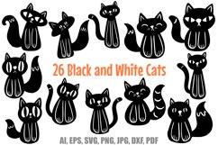 26 Cute Black and White Halloween Kitten Cat Illustrations Product Image 1