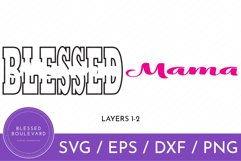 black and pink blessed mama svg cut file