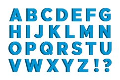 Blue 3D English Letters with Signs Product Image 1