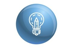 Pencil bulb icon, outline style Product Image 1