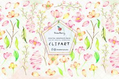Boho Watercolor Flowers PNG Soft Pink | Drawberry CP055 Product Image 1