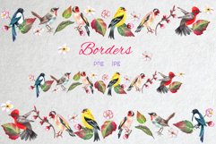 Watercolor spring birds and flowers. Product Image 3
