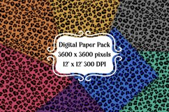Colorful Leopard Digital Paper Pack   Backgrounds   Textures Product Image 1