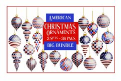 American Christmas Bauble Ornaments BIG BUNDLE 36 PNGS Product Image 1