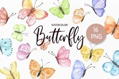 Watercolor Butterfly Clipart Butterflies Clip art set Product Image 1