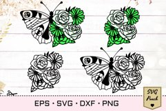 Florals and Butterfly SVG Product Image 1