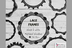 Lace Overlay Clipart Black and White PNG | Drawberry CP072 Product Image 3