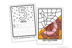 Color and learn the numbers | printable activity for kids. Product Image 3