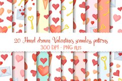 Hand drawn valentines seamless patterns png set Product Image 1