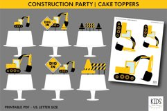 Construction party cake topper, birthday party printables Product Image 1