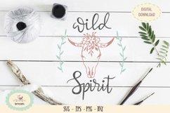 Wild spirit boho skull SVG PNG hand drawn Product Image 1