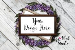 Flat Lay Wood Signs Mockup - Rectangle Wood Frames on Wreath Product Image 3