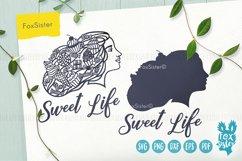 Sweet Life svg, Woman face svg, Desserts svg, Food svg file Product Image 2