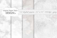 White Marble Digital Paper Pack, Grey Silver Marble Textures Product Image 4