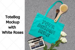 Tote Bag Mockup with White Roses, Makeup Brush, Cosmetic Kit Product Image 1