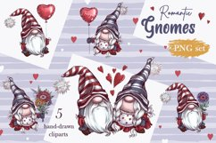 Romantic Gnomes at Valentine's Day. Hand drawing clipart. Product Image 2