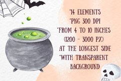 Witch Halloween clipart Watercolor witch items clipart decor Product Image 2