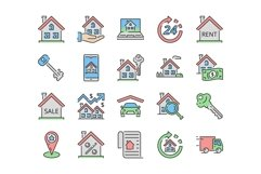 20 Real estate Icons, colored and outline style Product Image 2