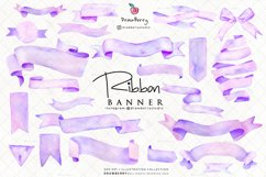 Purple Watercolor Banner Ribbon Clipart | Drawberry CP095 Product Image 2