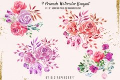 Valentine's Day Digital Paper, Romantic Watercolor clipart Product Image 3
