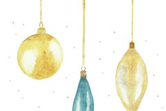 Watercolor new year card set, christmas tree ball, toy decor Product Image 3