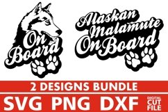 2x Alaskan Malamute On Board Bundle svg, Dog Breed svg, Paw Product Image 1