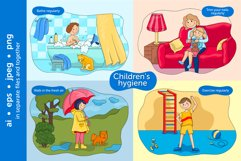 Baby hygiene vector illustration set Product Image 4