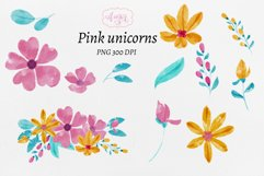 Watercolor baby unicorn clipart, hand painted unicorns Product Image 2