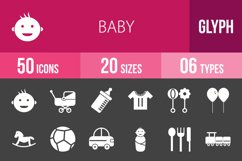 50 Baby Glyph Inverted Icons Product Image 1